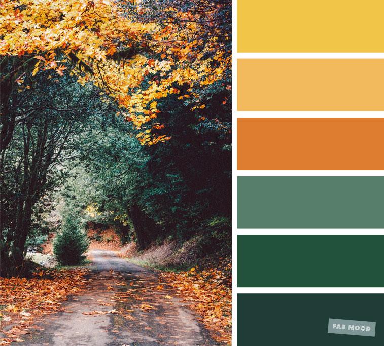 59 Hubsche Herbstfarbenschemata Grun Orange Gelb Senf Gelb Grun Herbstfarbenschemata Hubsche Orange Grune Farbpalette Grune Palette Farbe Gelb
