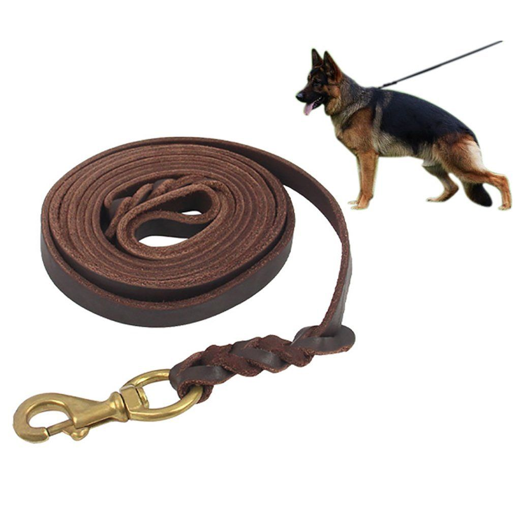 Saiger Braided Genuine Leather Dog Leash Dog Training Leash Lead