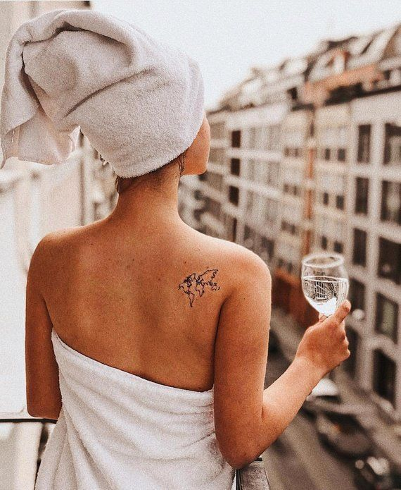 Photo of World map Temporary Tattoo / Airplane flash tattoo / Wrist tattoo for travelers / Wind rose Compass / Wanderlust / Couple Tattoo set