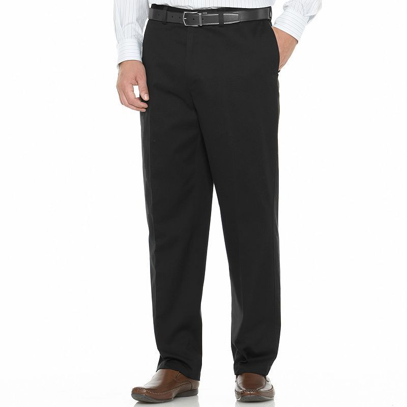 Big & Tall Savane Performance Straight-Fit Flat-Front Pants, Men's, Size: 44X34, Black
