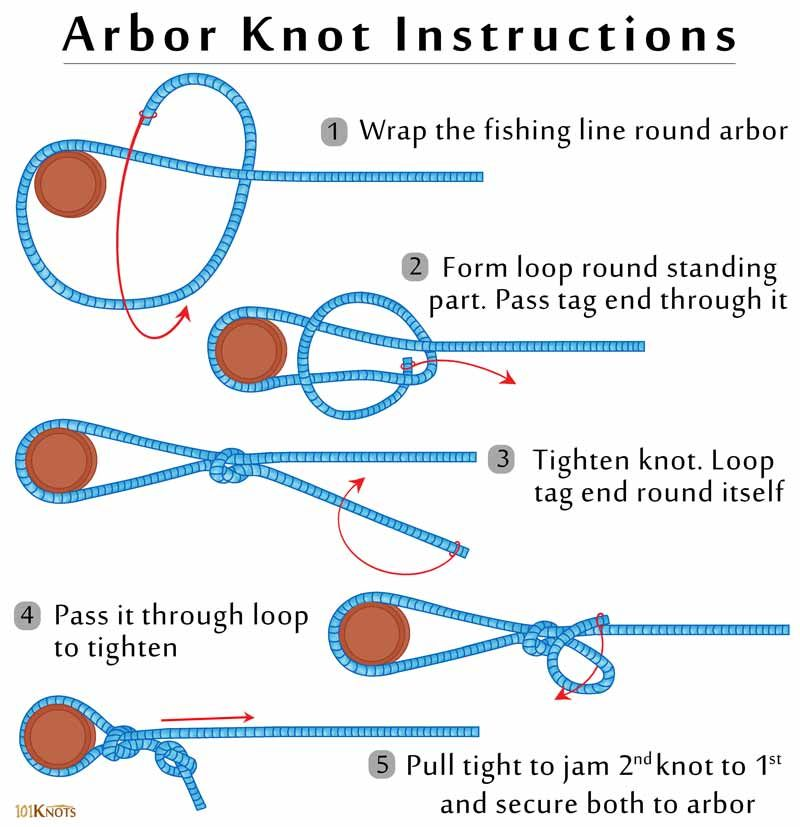 How to tie an arbor knot fishing knots pinterest for How to tie a knot in fishing line