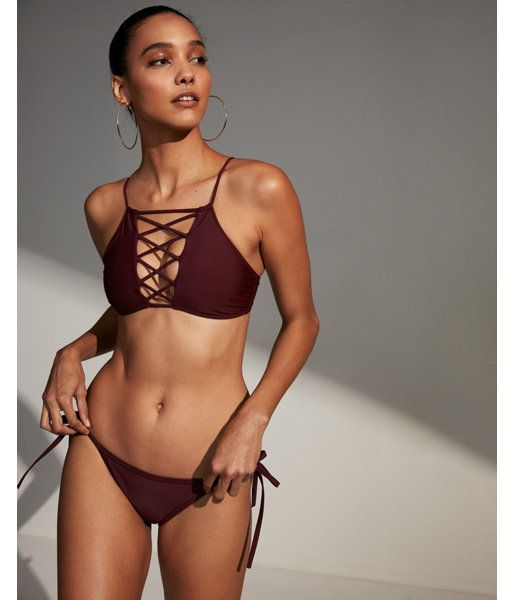 d2e1bc5fa8211 Turn Heads In This High Neck Bikini Top With A Sexy, Skin-Baring Lace-Up  Front. Ties In The Back For Your Perfect Fit.. Womens Swimwear. XS