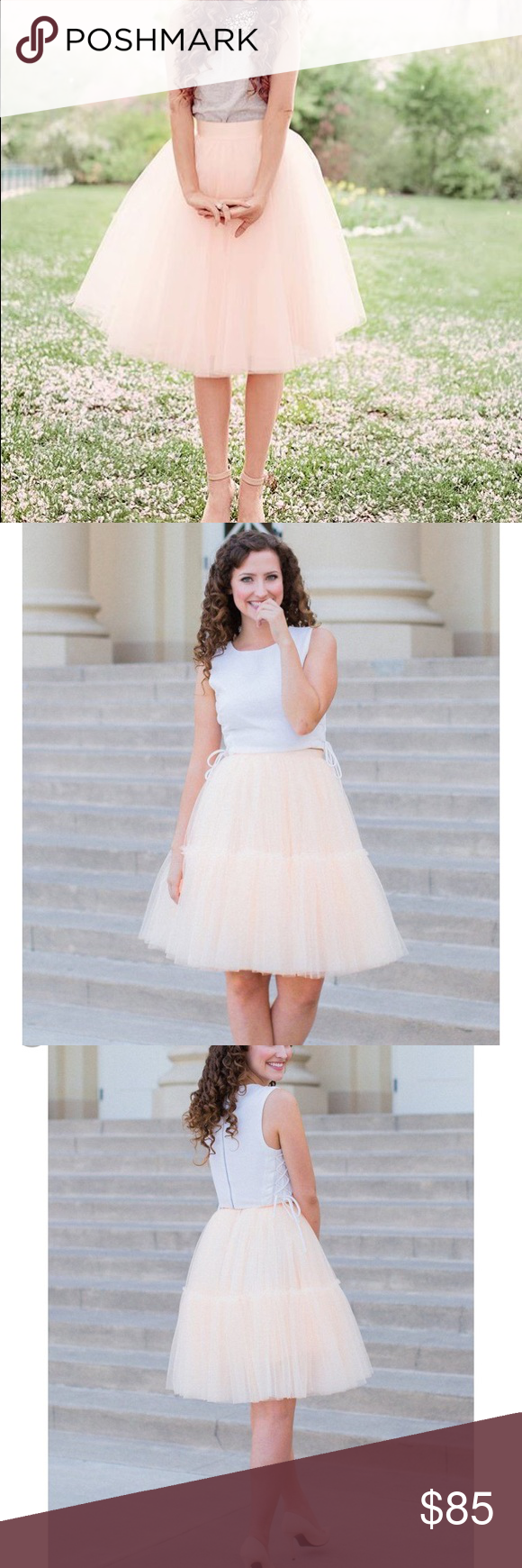 """0ab9757ee5 🆕✨The Skylar Tulle Skirt - Peach 🆕✨Space 46 Boutique The Skylar 22"""" peach tulle  Skirt. Waist 25"""". Worn once perfect condition Space 46 Boutique Skirts ..."""