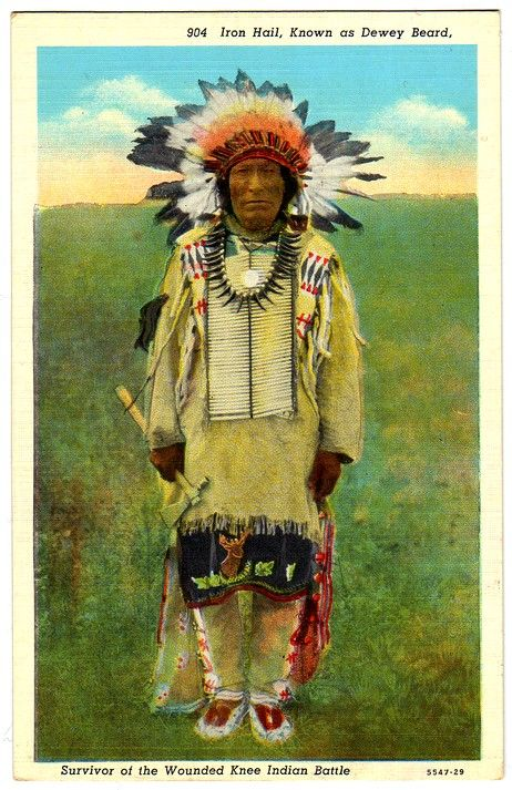 "SIOUX Miniconjou Iron Hail (1857-1955), also nammed Dewey Beard ""Wa-Sue-Ma-Za"", Surviror of the Wounded knee Indian Battle. Postcard published by par Sanborn Souvenir Co., Denver, Colorado, edited c.1930-1944."