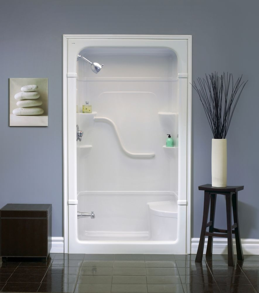 Madison 48 Inch 1 Piece Acrylic Shower Stall With Seat With