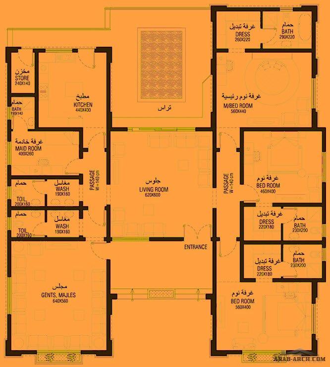 مخطط بيت ارضي 273 متر مربع 3 غرف نوم Arab Arch Model House Plan My House Plans Architecture House