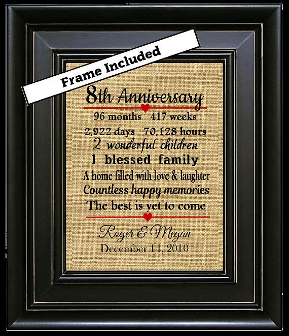 Framed 8th Wedding Anniversary Gift Gifts 8 Years Of Marriage Wife