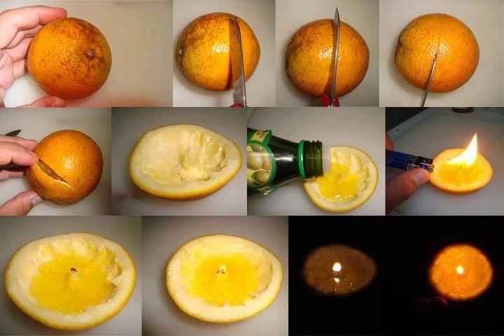 Castiçal com casca de laranja.    As cascas de laranja servem como excelentes castiçais. Basta retirar o conteúdo, mantendo no meio, aquele pedacinho branco, colocar um pouco de azeite, e eis que temos uma vela 100% orgânica!