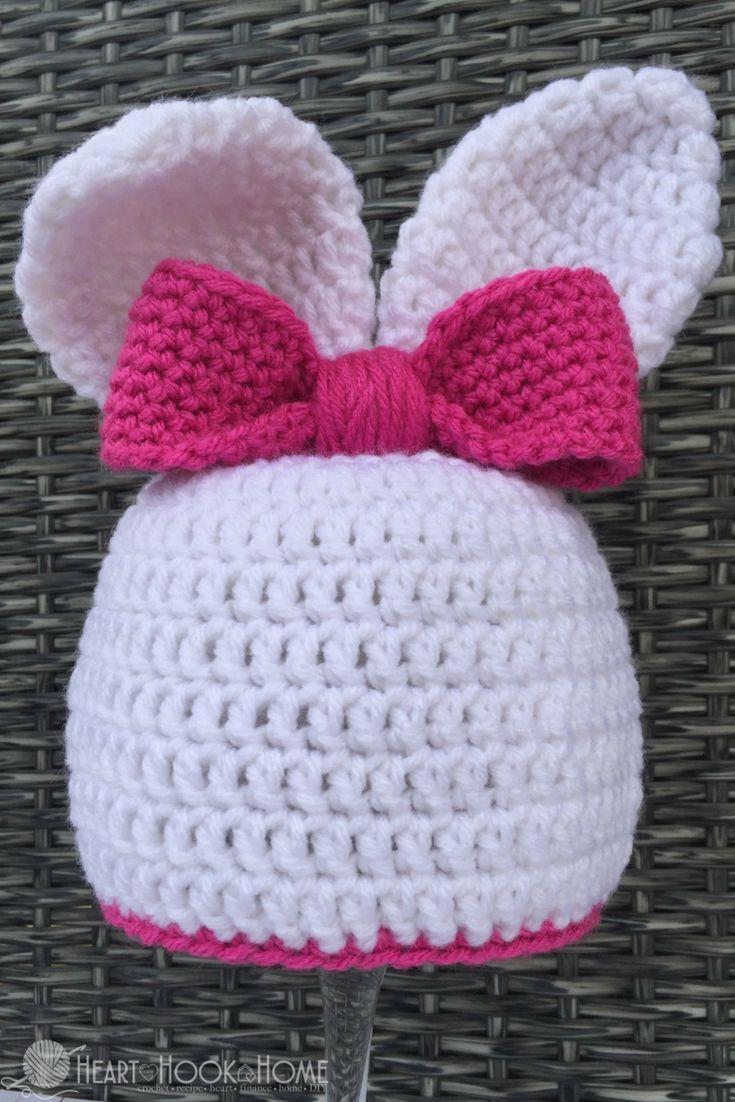 Bunny Beanie With Ears Free Crochet Pattern For Easter Crochet Hats Crochet Patterns Crochet Baby Hats
