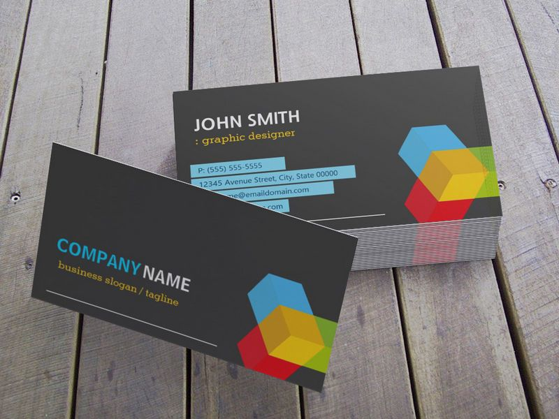 Colorful 3D Cube Logo - Creative Modern Dark Business Card Template ...