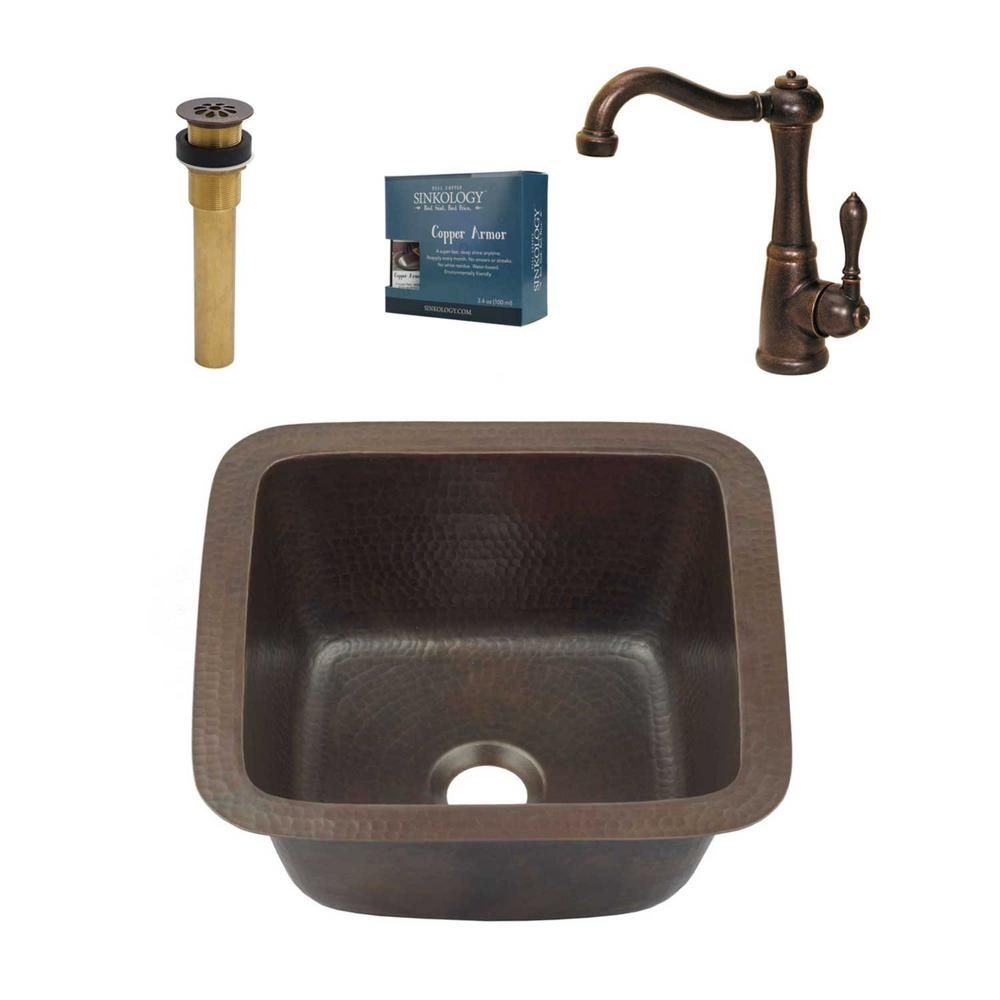 Sinkology Pollock All In One Undermount Copper 12 In 0 Hole Single Bowl Kitchen Sink With Pfister Faucet And Drain Aged Copper Sink Single Bowl Kitchen Sink Faucet