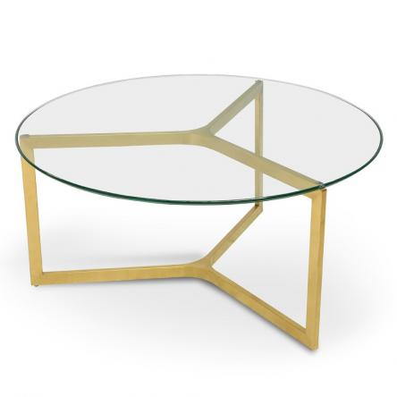 Janet Gl Round Coffee Table Gold Base The Block