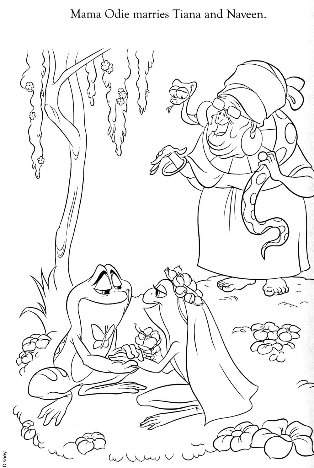 Tiana and Naveen Coloring Pages | tiana And naveen colouring pages ...