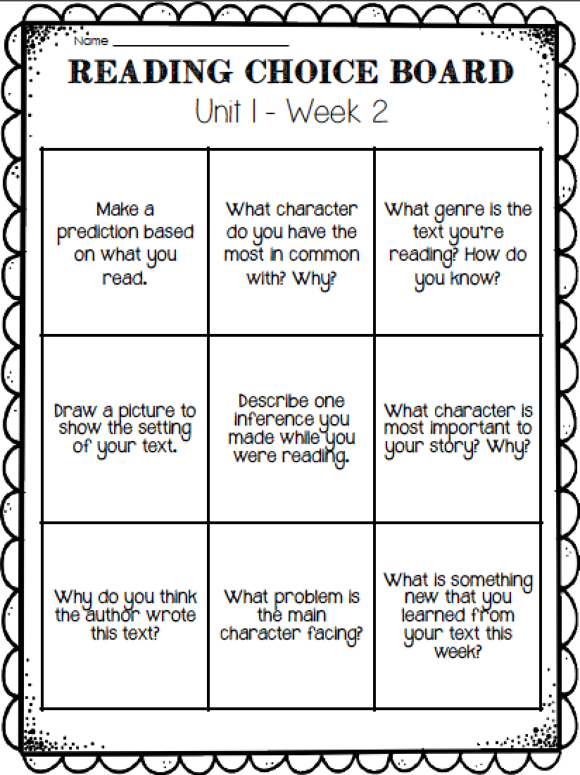 Free Reading Choice Board This Would Be Great For Homework border=