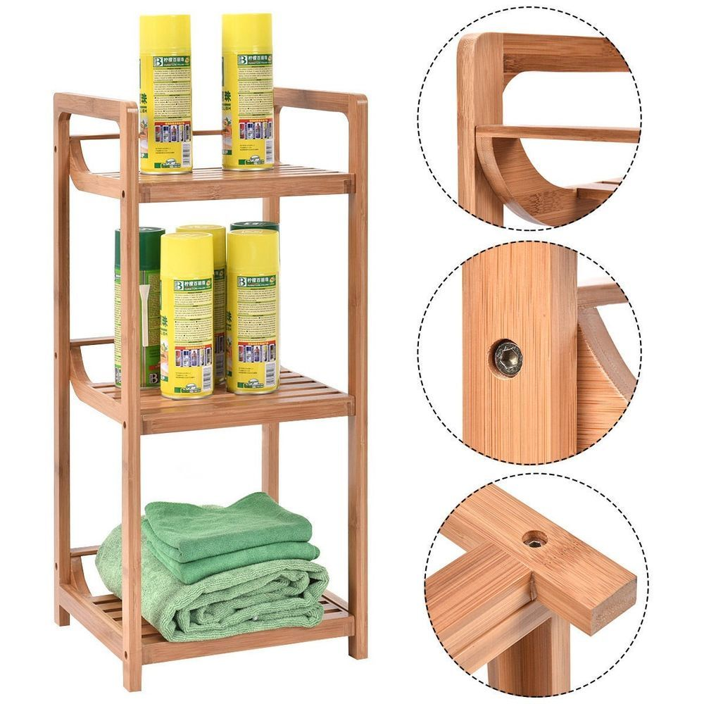 Bathroom Floor Storage Cabinet 3 Tier Bamboo Bath Shelf Free ...
