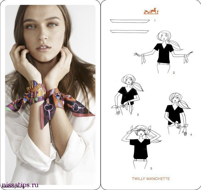 ca80a95032e1 How To Tie A Scarf - Hermès Scarf Knotting Cards Vol.4 - Twilly Manchette