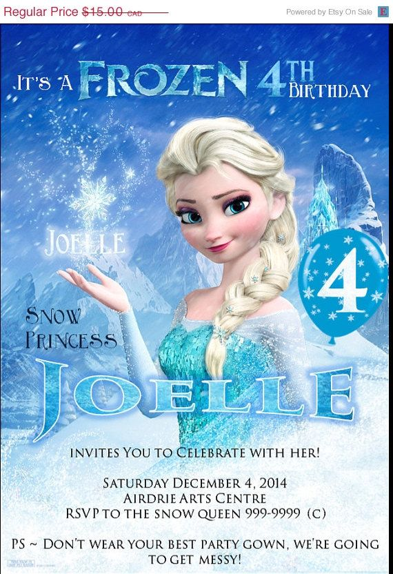 half off sale custom frozen party invitation by poppinpaperparties