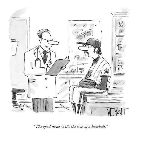 The Good News Is It S The Size Of A Baseball New Yorker Cartoon Premium Giclee Print Christopher Weyant Art Com In 2020 New Yorker Cartoons Cartoon Cartoons Comics