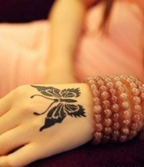 Beautiful Back Of The Hand Butterfly Tattoos For Girls