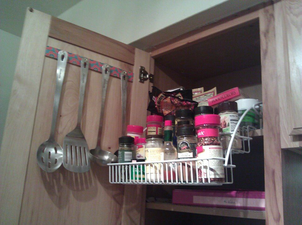Small Kitchen Space Saver! Hang Utensils On Cabinet Door