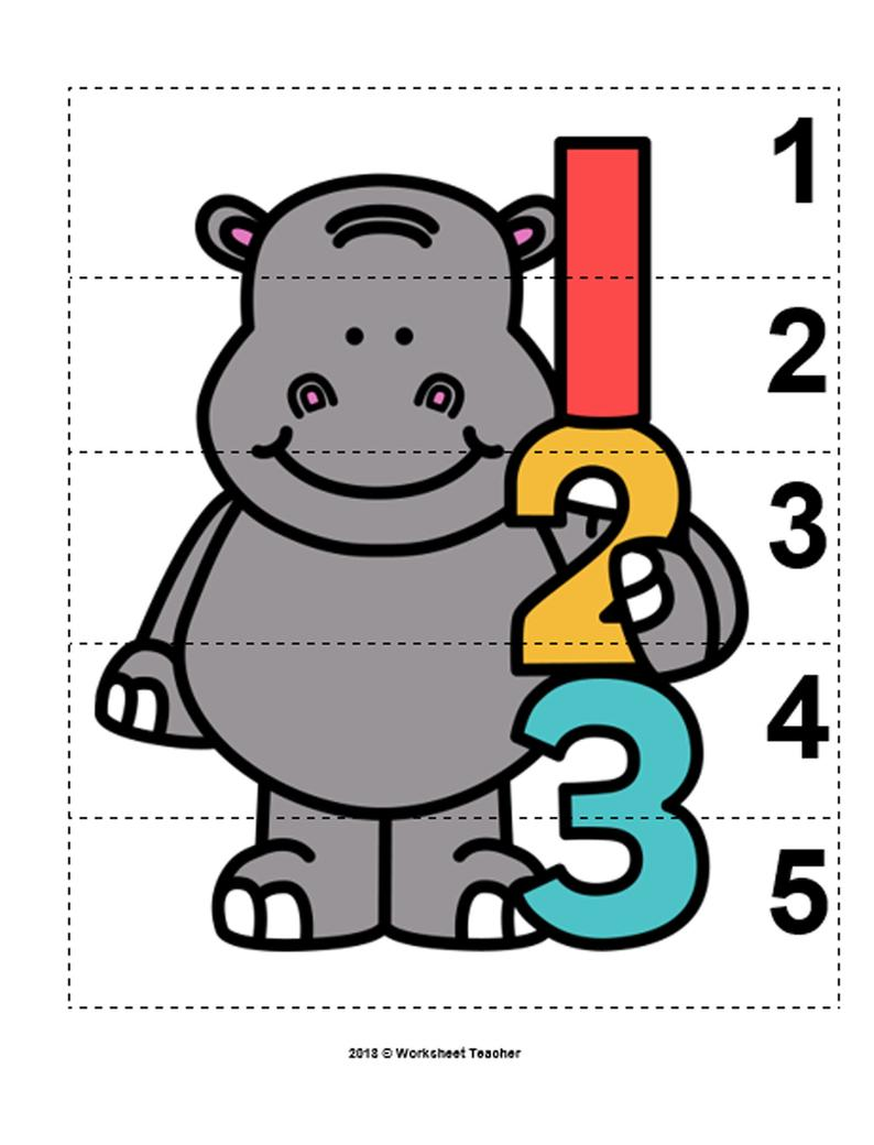 10 Zoo Animals Number Sequence 15 Preschool Math Picture