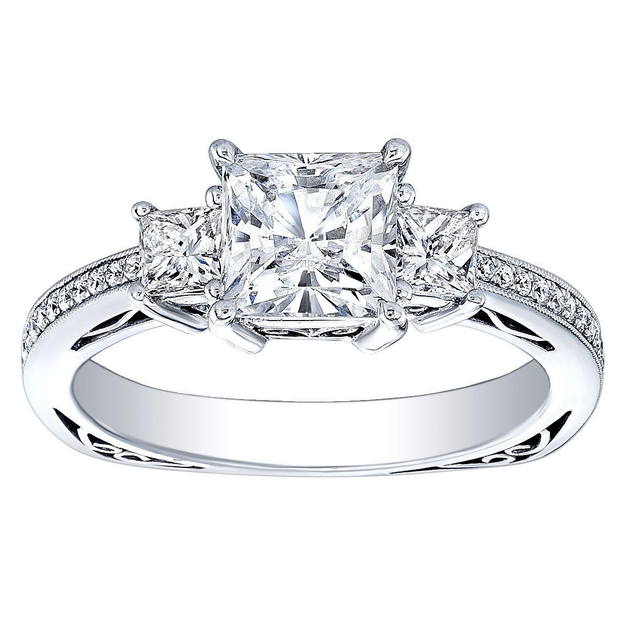 18k white gold 3/4ct tdw princess-cut cz and diamond three-stone