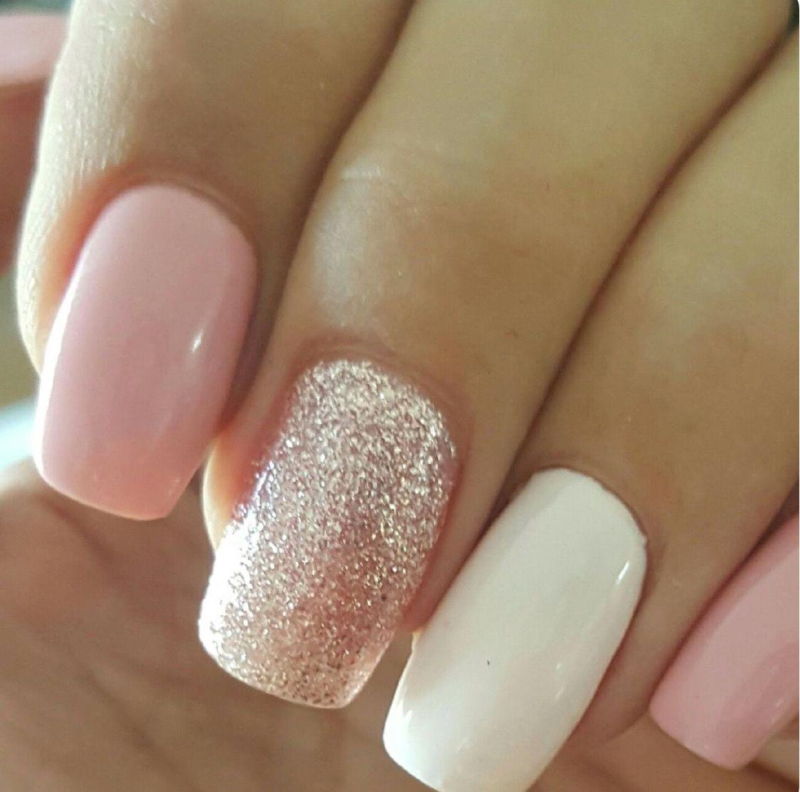 Unas Rosa Blanco Y Glitter Xv Mimi Una Decoradas Unas Y Manicura