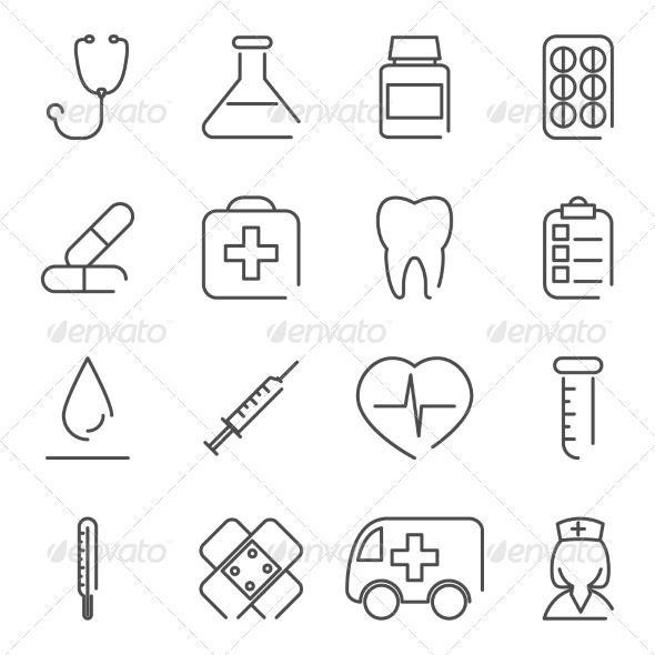 Modern Line Medical Treatment icons and Symbols Set for Mobile
