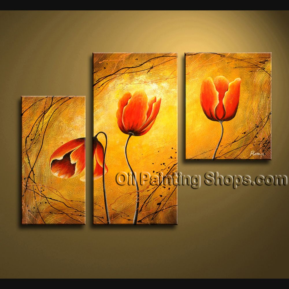 Elegant Contemporary Wall Art Floral Painting Tulip Contemporary ...
