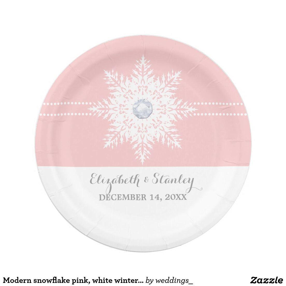 Modern snowflake pink white winter wedding paper plate  sc 1 st  Pinterest & Modern snowflake pink white winter wedding paper plate | Wedding ...