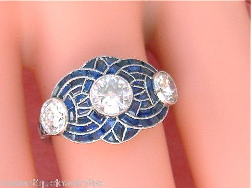 Estate Art Deco 1 28ctw 3 Diamond Sapphire Inlay Platinum Ring www.MelsAntiqueJewelry.com FINEST ANTIQUE JEWELRY
