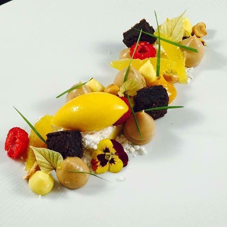 """Mandarin sorbet, hazelnut mousse, flourless chocolate cake, citrus cremeux by @bachour1234 posted via #chefstalk app (www.chefstalk.com) - follow him on…"""