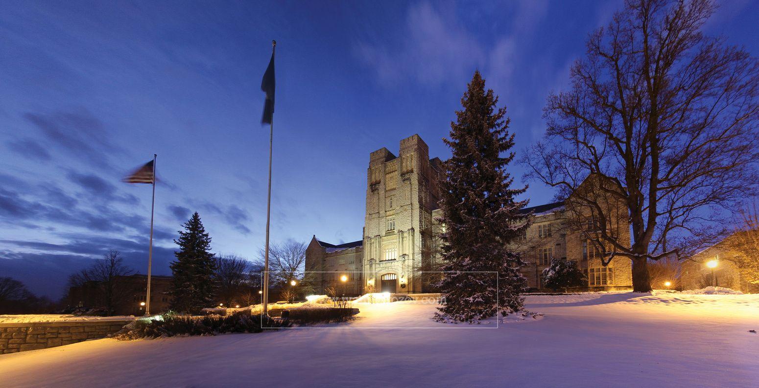 Burruss Hall in snow, Virginia Tech. virginiatech hokies