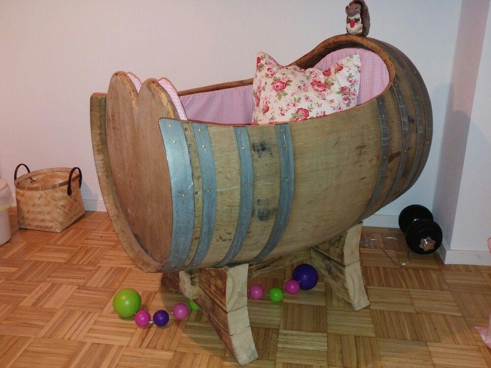 Babybett Kinderbett Weinfass Fass Holz