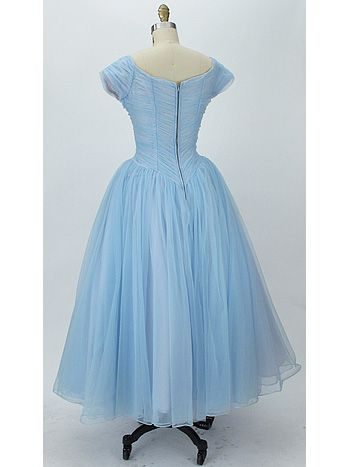 50s Blue Nylon Chiffon Ballerina Length Wedding/Prom Dress | Prom ...