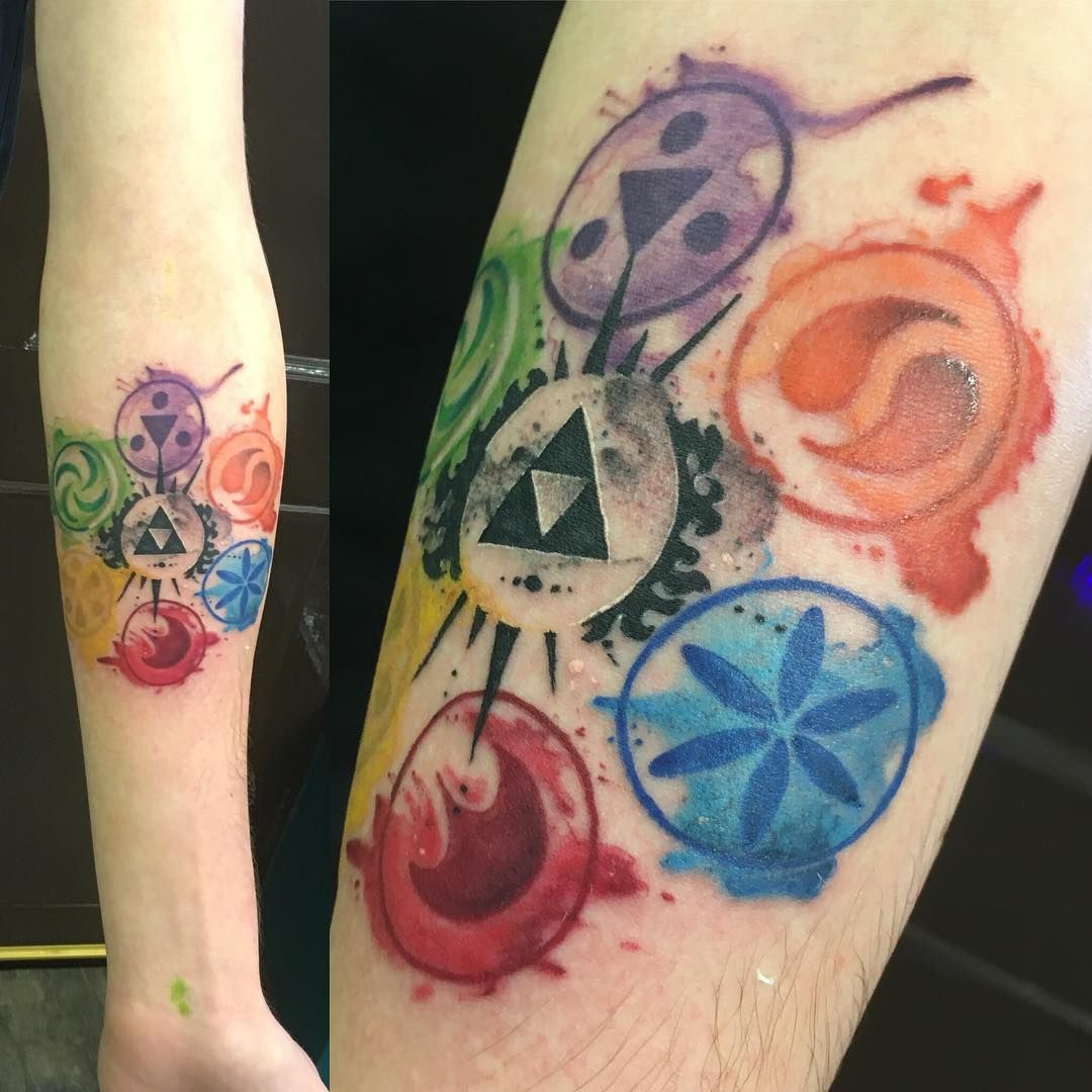 My First Tattoo Legend Of Zelda Watercolour Design By Lauren Hanson Cosmic Monsters Incorporated Bromsg Zelda Tattoo Legend Of Zelda Tattoos Nintendo Tattoo