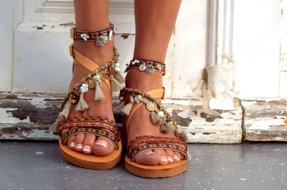 be03b2485b0bd Leather Boho Sandals Atlantida Greek Sandals