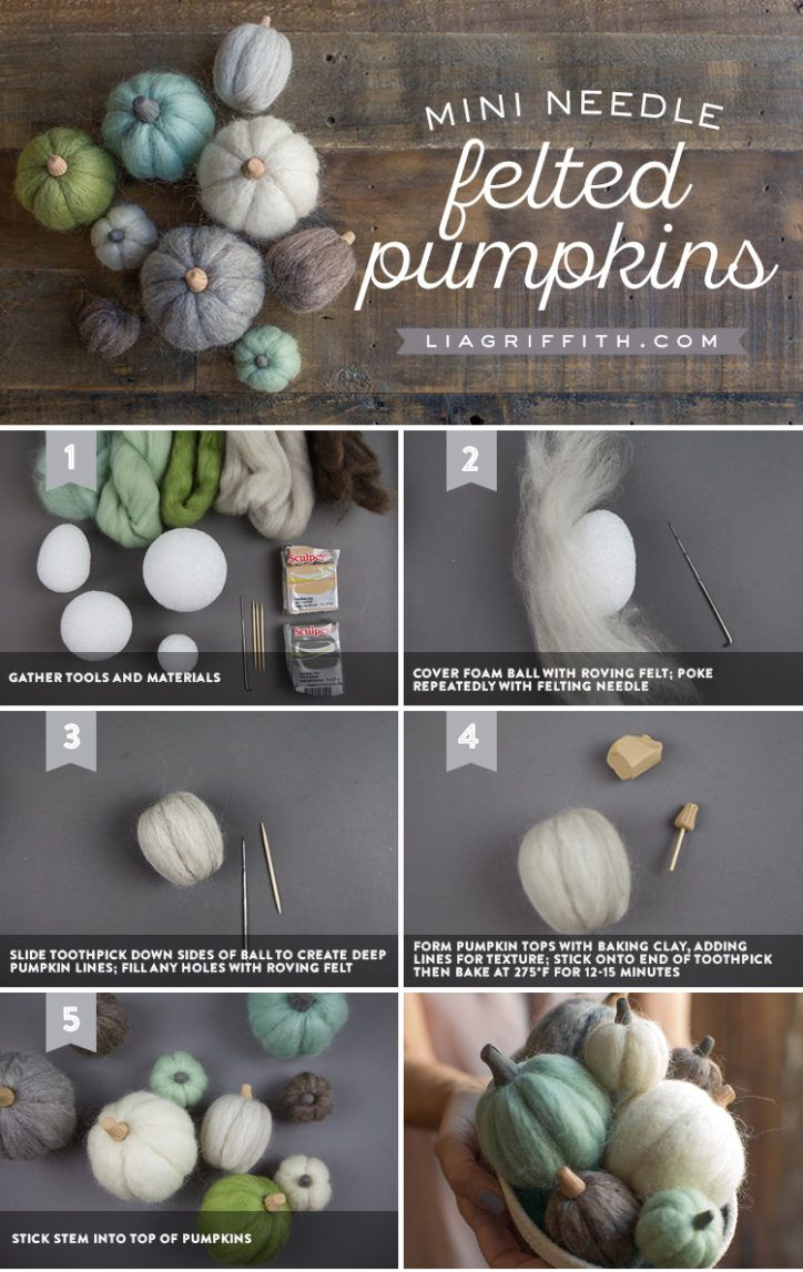 How to Make Felted Mini Pumpkins for Fall #feltedwoolcrafts