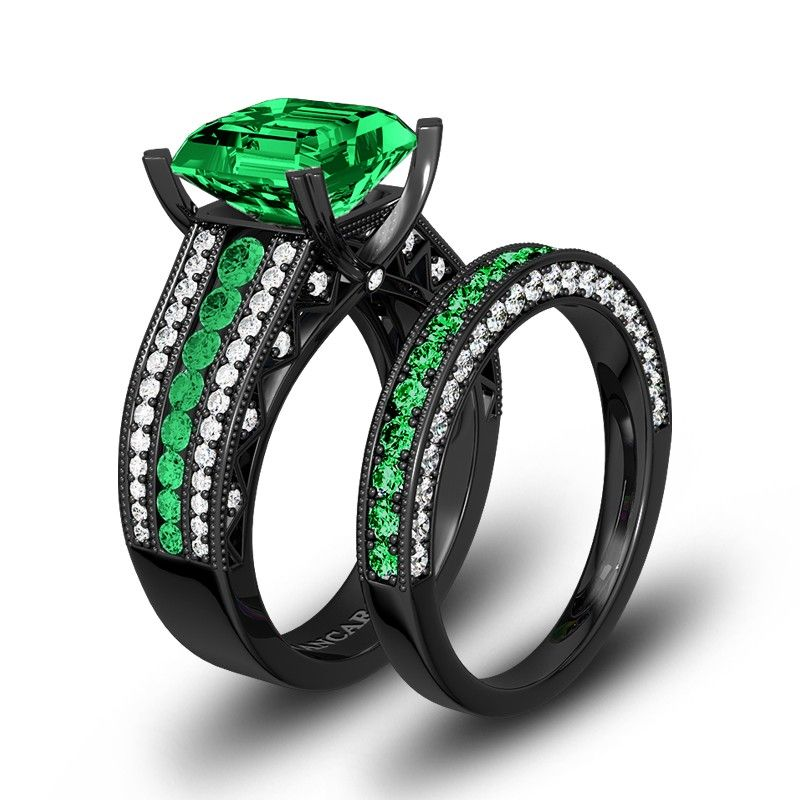 Green And White Cubic Zirconia With Cushion Cut Women S Black Wedding Ring Set