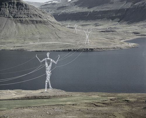 Icelandic Pylon Competition Entry by Choi and Shine Mundane electrical pylons transformed into statues, configured to respond to their environment with appropriate gestures.