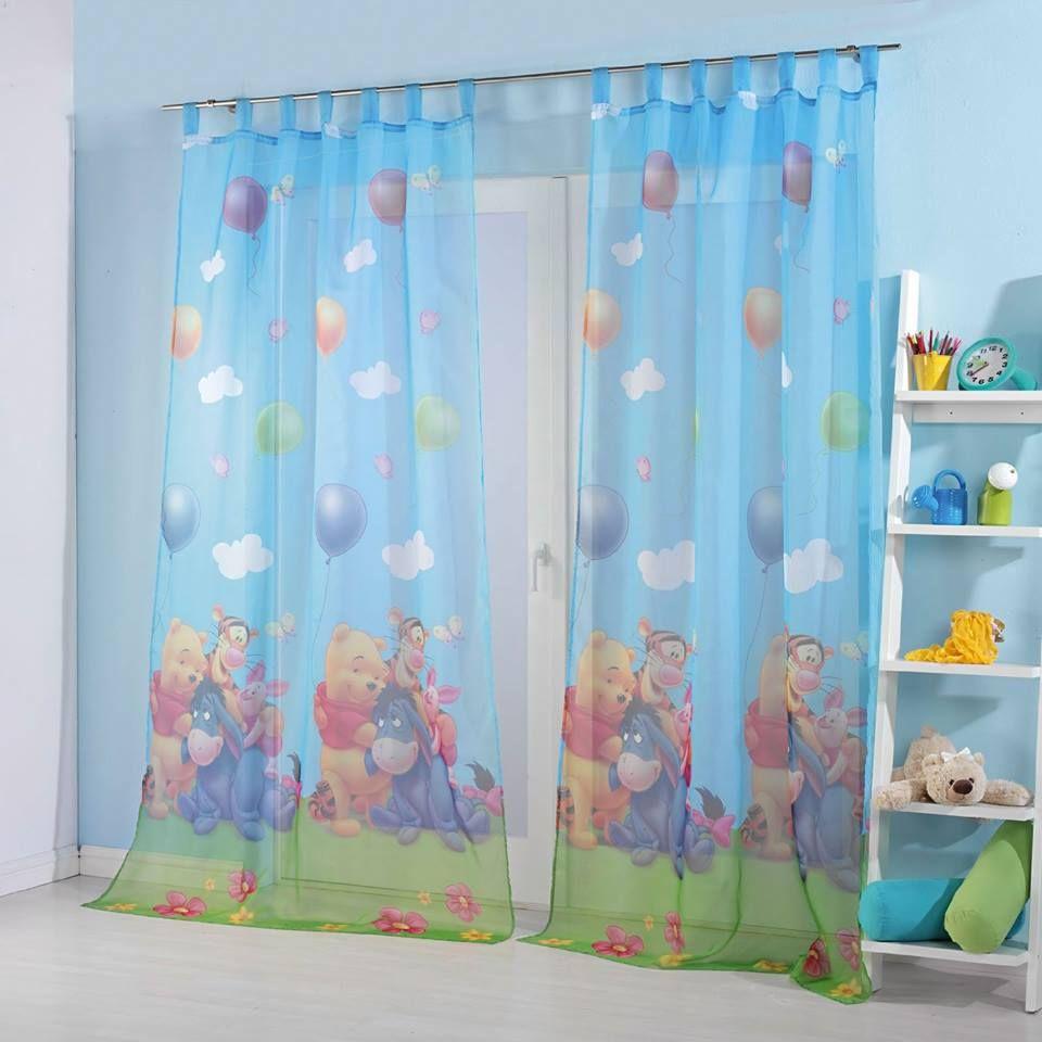 Farbenfrohe, halb transparente Kinderzimmergardine mit ...