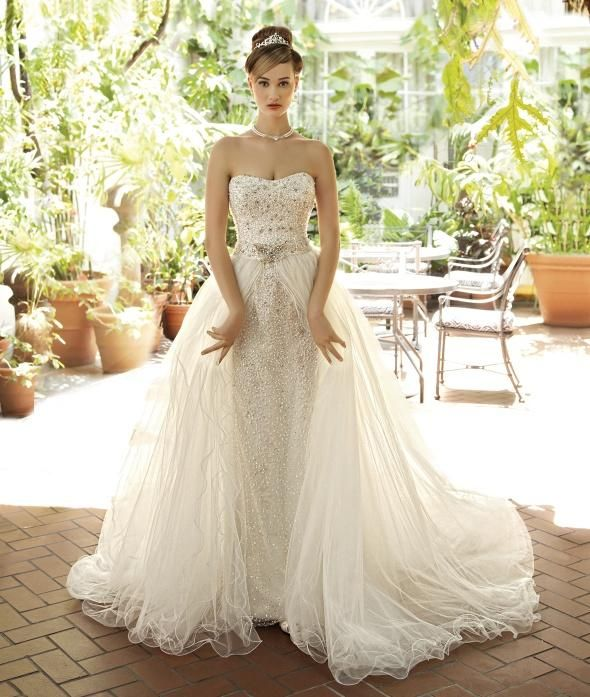 Detachable Tulle Skirt Wedding Dresses Ball Gown Two Piece