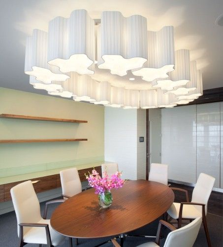 Paul nulty lighting design riverbank house london commercial office dining room feature chandelier