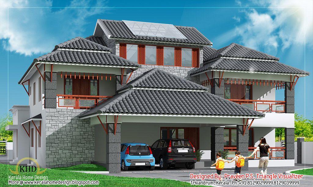 Kerala home design and floor plans also duplex house elevation sq ft modern rh pinterest