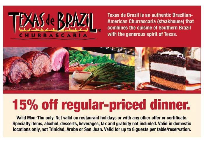 photo about Texas De Brazil Printable Coupon identify texas de brazil Printable Coupon codes Texas de brazil