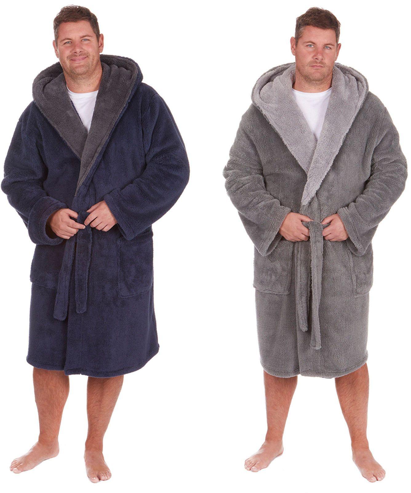 Sleepwear and Robes 11510: Mens Sherpa Fleece Hooded Heavy Soft ...