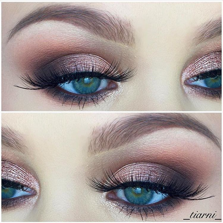 """""""One of my faves✨ @zoevacosmetics rose gold palette ✨ @lina_lashes in diva ✨ Mac Costa riche eye kohl ✨ @anastasiabeverlyhills chocolate brow wiz"""""""