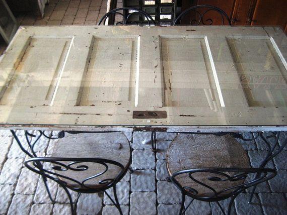 Repurposed antique farmhouse door dining table by for Repurposed dining table