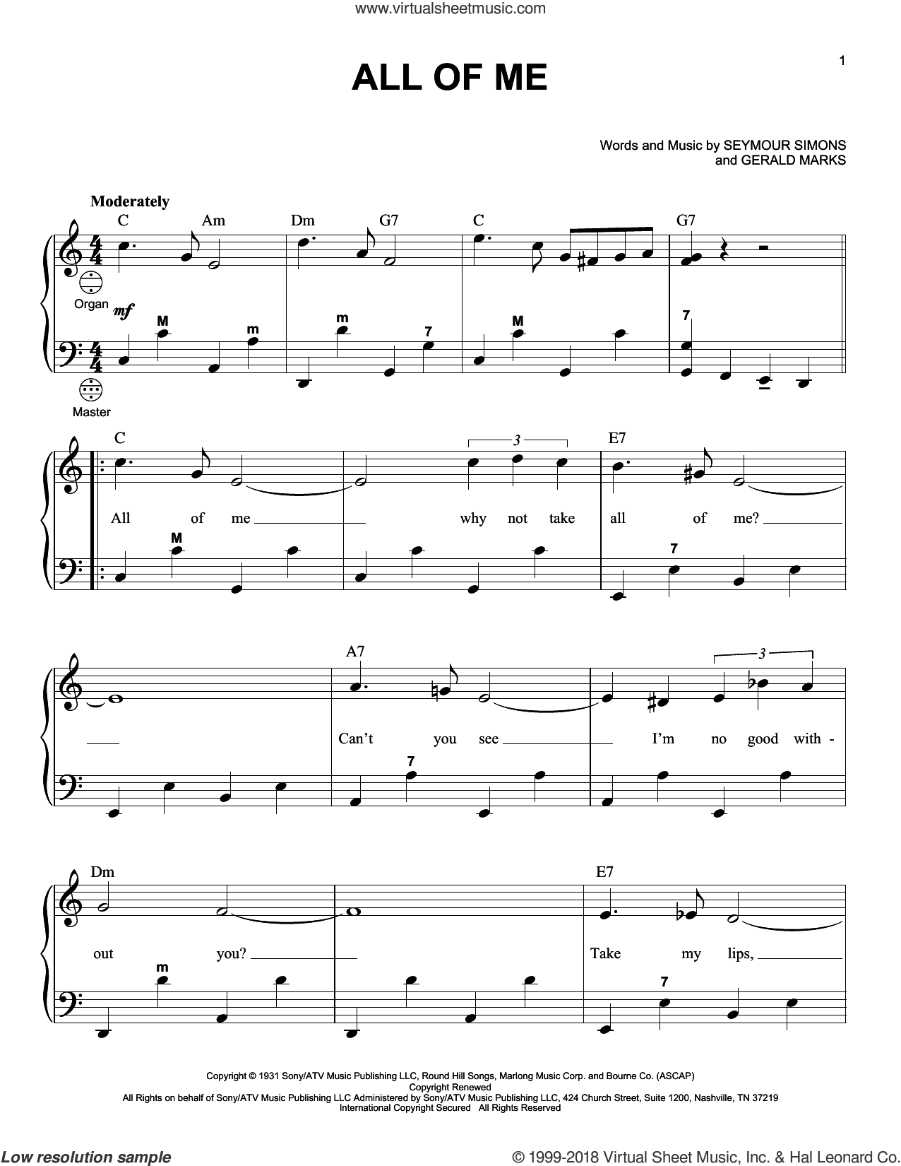 Simons - All Of Me sheet music for accordion [PDF-interactive] in