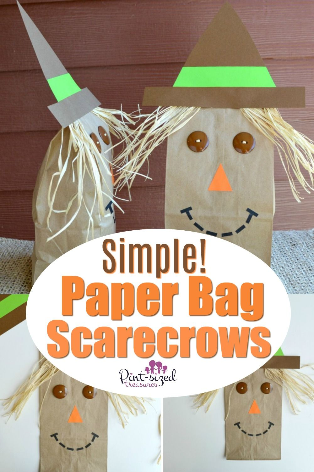 Simple paper bag scarecrow craft kids love! Adding these adorable scarecrows to the paper bags make the fall season come alive for your kids! This craft is simple enough for kids of all ages from preschool all the way to tweens! #paperbag #paperbagcraft #scarecrows #forpreschool #fortweens #simplecraft #easycraft #pintsizedtreasures
